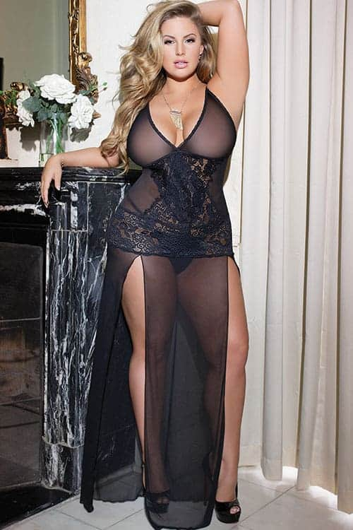 Coquette Mesh and Lace Long Gown front 2