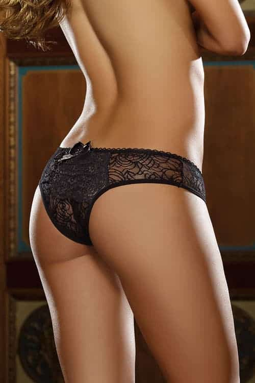 Dreamgirl Open Crotch Black Stretch Lace Panties back
