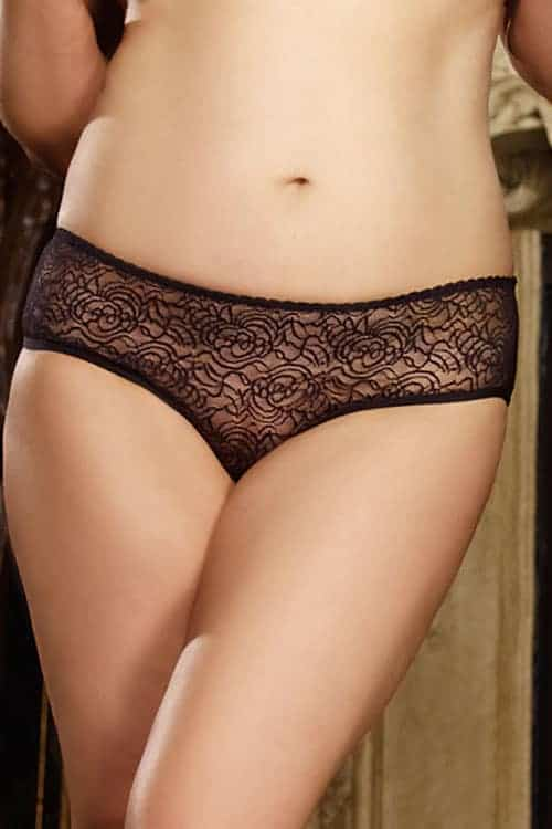 Dreamgirl Open Crotch Black Stretch Lace Panties front 2