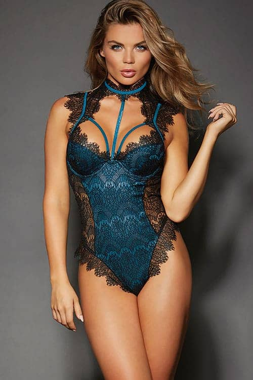 Dreamgirl Satin and Eyelash Lace Teddy front