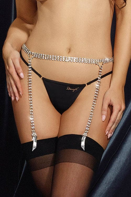 Dreamgirl Silver Rhinestone Garter Belt front