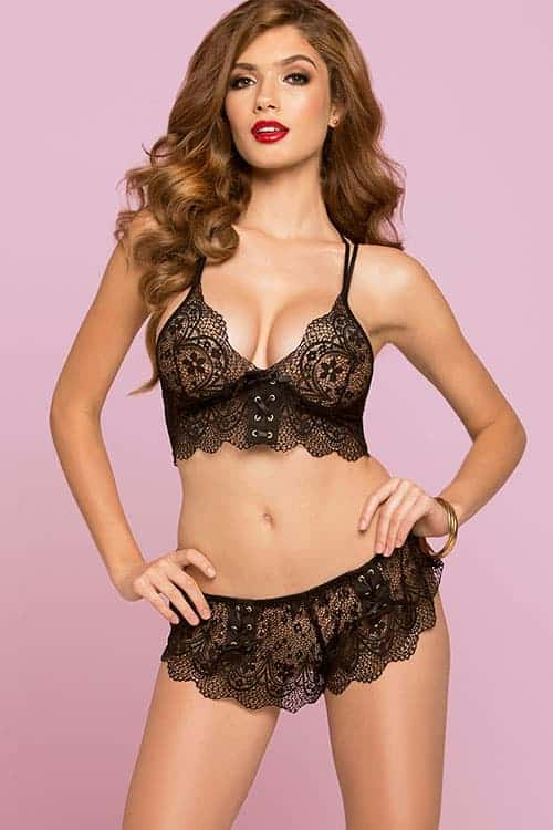 Seven til Midnight Crochet Lace Black Bra Set front