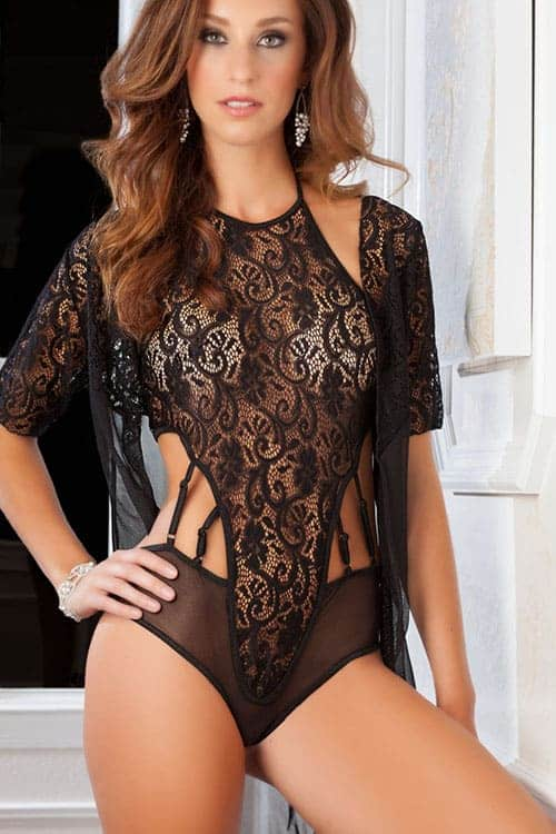 GWorld High Neck Black Lace Teddy and Robe front