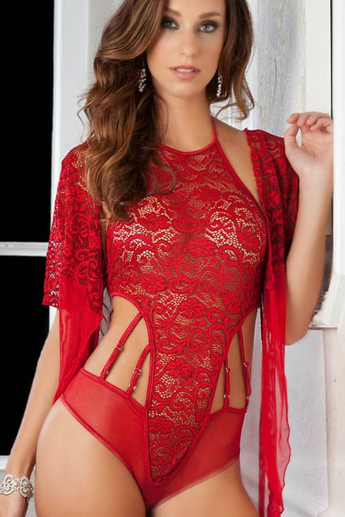 GWorld High Neck Red Lace Teddy and Robe front