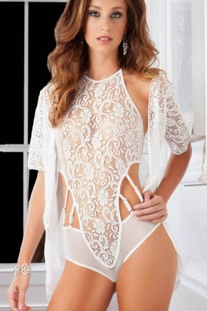 GWorld High Neck Pearl Lace Teddy and Robe front