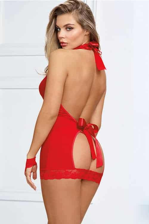 Dreamgirl Red Chemise with Collar and Restraints back