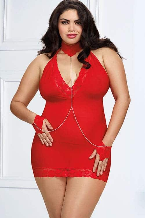 Dreamgirl Red Chemise with Collar and Restraints front 2