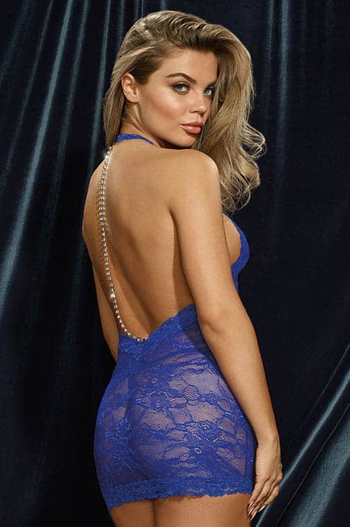 Dreamgirl Sapphire Lace Chemise back
