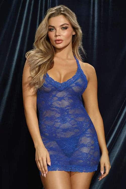 Dreamgirl Sapphire Lace Chemise front