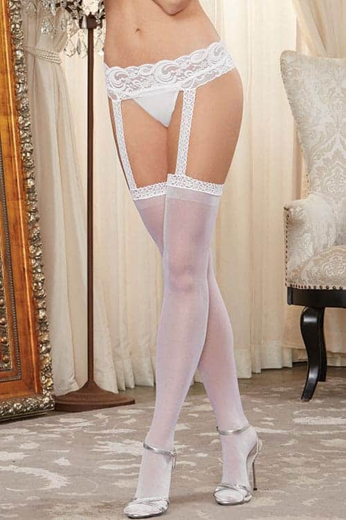 Dreamgirl White Thigh Highs with Garter Belt front