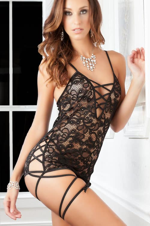 GWorld Black Lace Strappy Babydoll front
