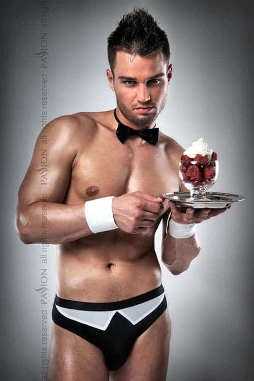 Passion Waiter Brief with Cuffs and Bow Tie front