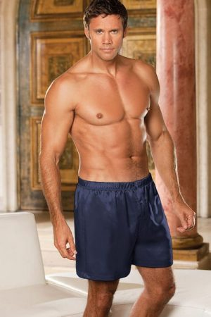 Shirley of Hollywood Navy Satin Boxer 20059 Navy front