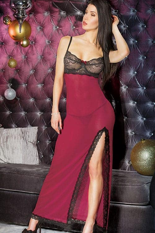 Coquette Merlot High Slit Long Gown front