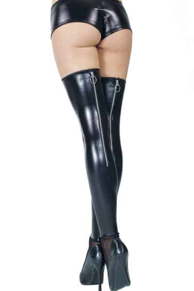 Coquette Wet Look Thigh Highs with Back Zipper back