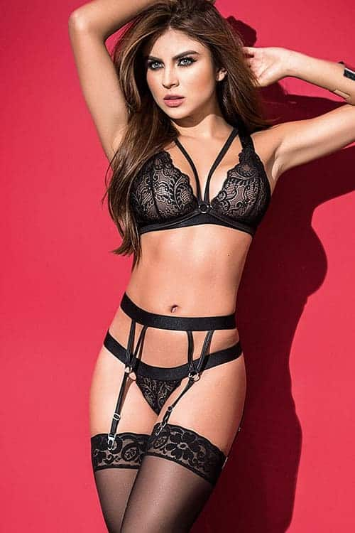 Mapale Black Caged Bra Set front