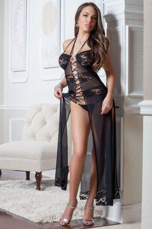 GWorld 2pc Dream Black Lace & Mesh Gown front