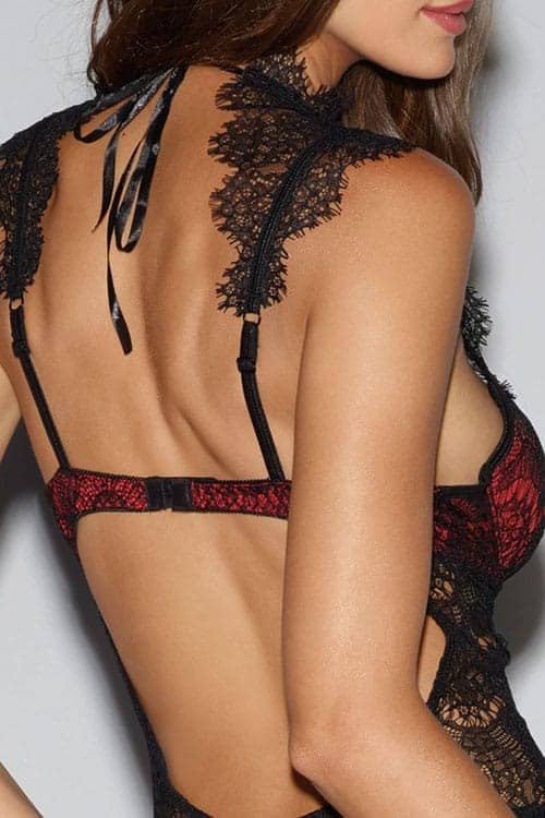Dreamgirl Red Satin and Eyelash Lace Teddy back 2