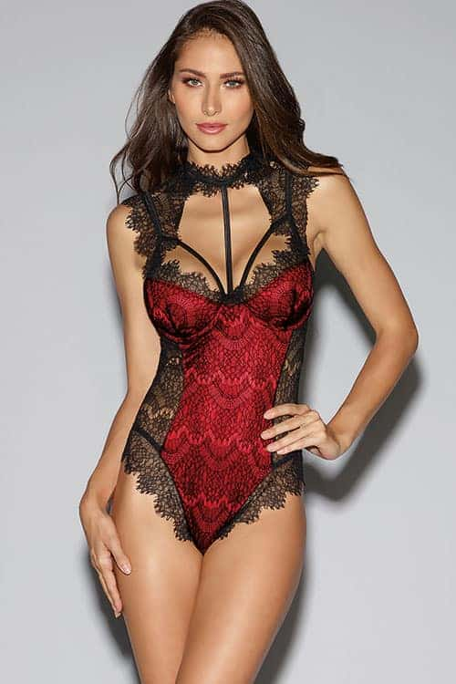 Dreamgirl Red Satin and Eyelash Lace Teddy front