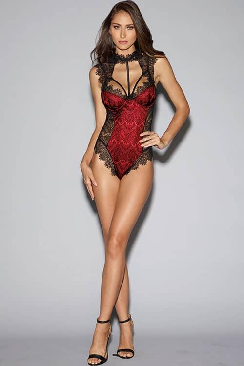 6b768ddcb1b29 Dreamgirl Red Satin and Eyelash Lace Teddy - Marys Lingerie