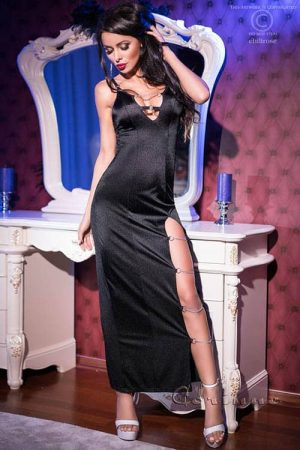 Chilirose Long Black Dress with Chains front