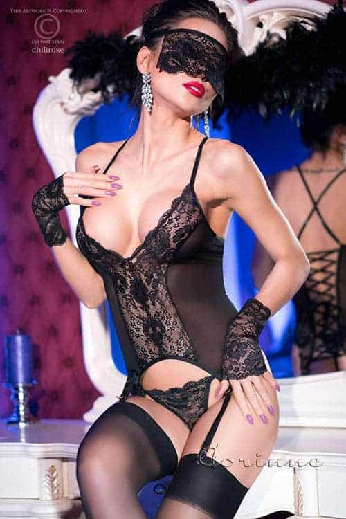 Chilirose Black Guepiere with Thong, Gloves and Blindfold front
