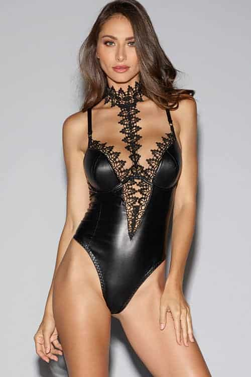 Dreamgirl Faux Leather Venetian Lace Teddy front