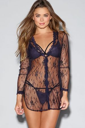 Dreamgirl Lace Shirt Style Robe Set 11016 front