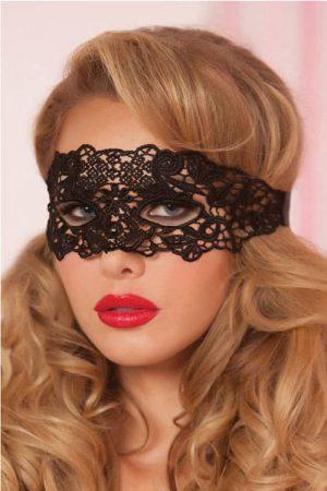 Seven Til Midnight Black Eyelash Lace Mask front
