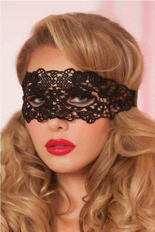 Seven Til Midnight Black Eyelash Lace Mask front