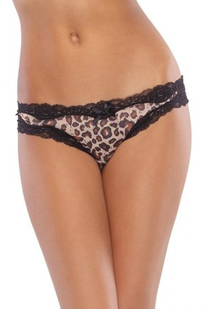 Coquette Crotchless Brown Leopard Panty CQ141 front
