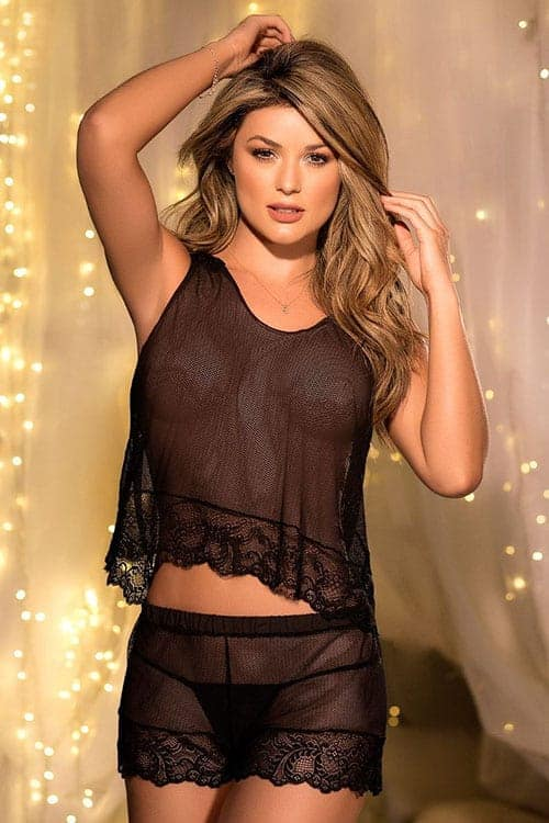 Mapale Black Lace Cami Set front