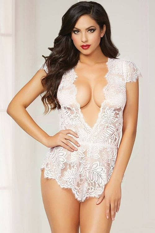 Seven Til Midnight White Eyelash Lace Romper front