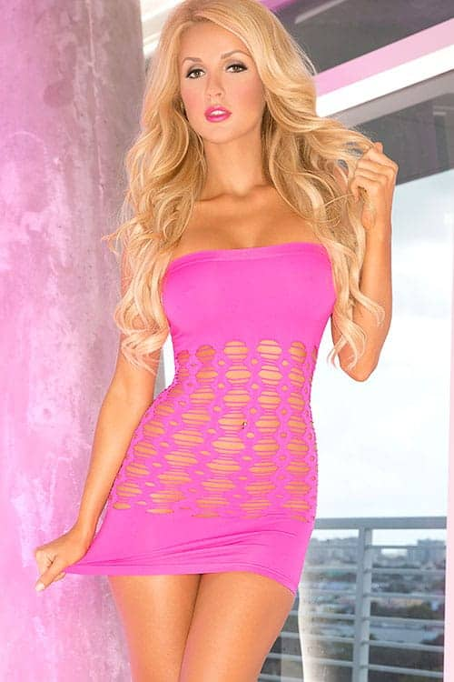 Pink Lipstick Pink Bandeau Bodystocking front
