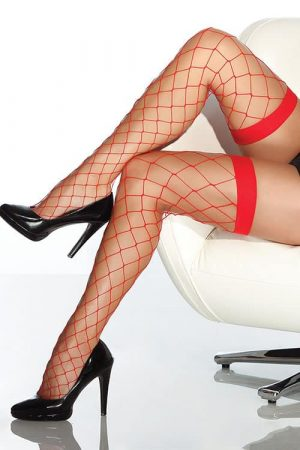 Coquette Red Fence Net Thigh Highs