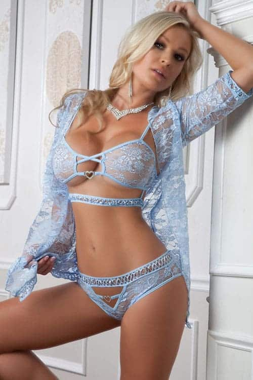 Gworld Sexy Blue Lace Robe, Bra and Panty Set front