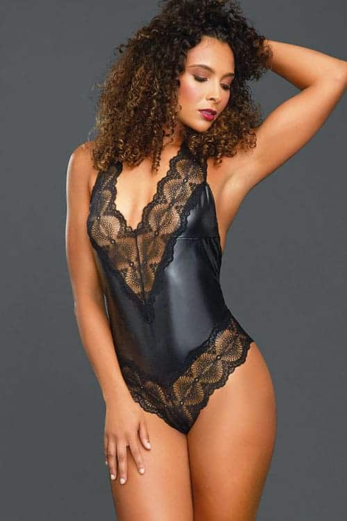 Dreamgirl Faux Leather and Lace Teddy 11454 front