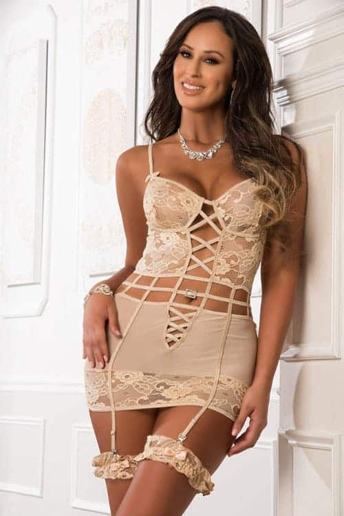 Gworld Peek-a-Boo Cut Out Garter Slip with Side Zippers front