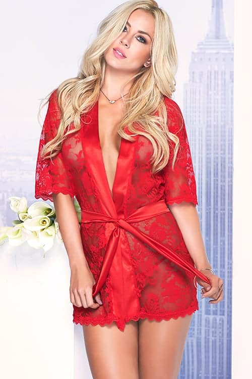 Mapale Classic Red Lace Robe front
