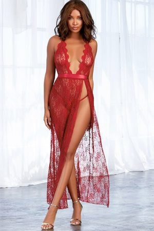 Dreamgirl Garnet Long Lace Gown front