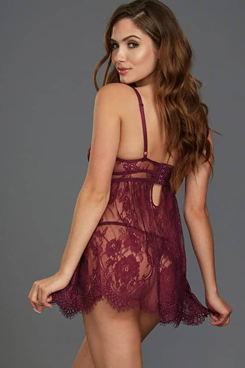 Dreamgirl Mulberry Lace Babydoll back