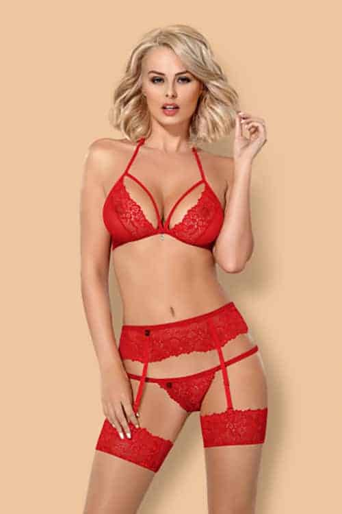 Obsessive 3 PC Red Bra Set front