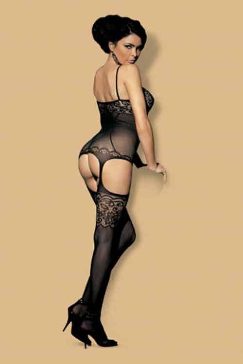 Obsessive Fishnet and Lace Black Bodystocking back 2