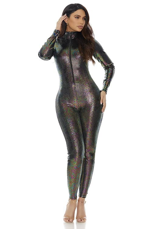 Forplay Zipfront Reptile Jumpsuit front 2