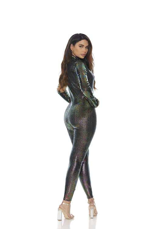Forplay Zipfront Reptile Jumpsuit back 2