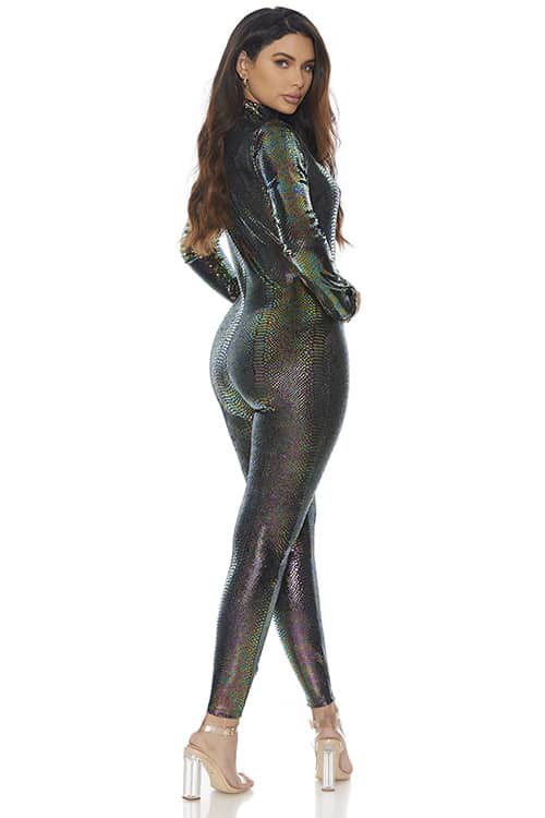 Forplay Zipfront Reptile Jumpsuit back