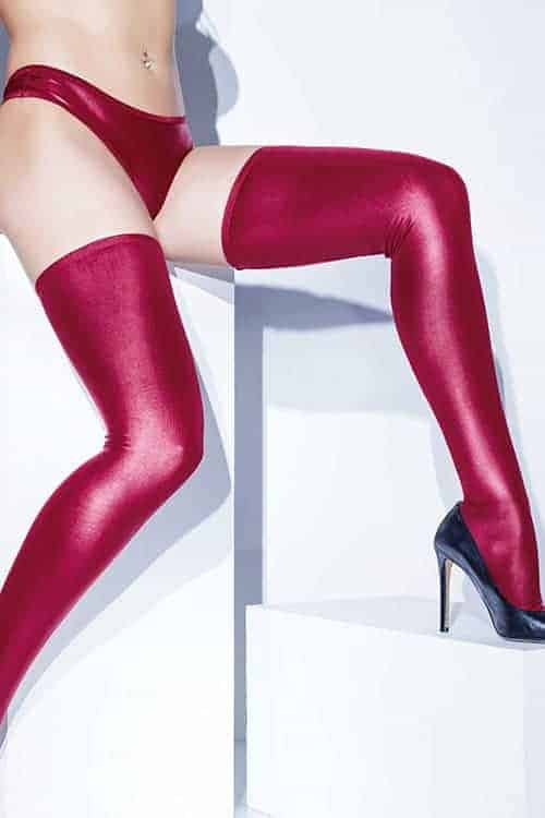 Coquette Metallic Wet Look Merlot Stockings front