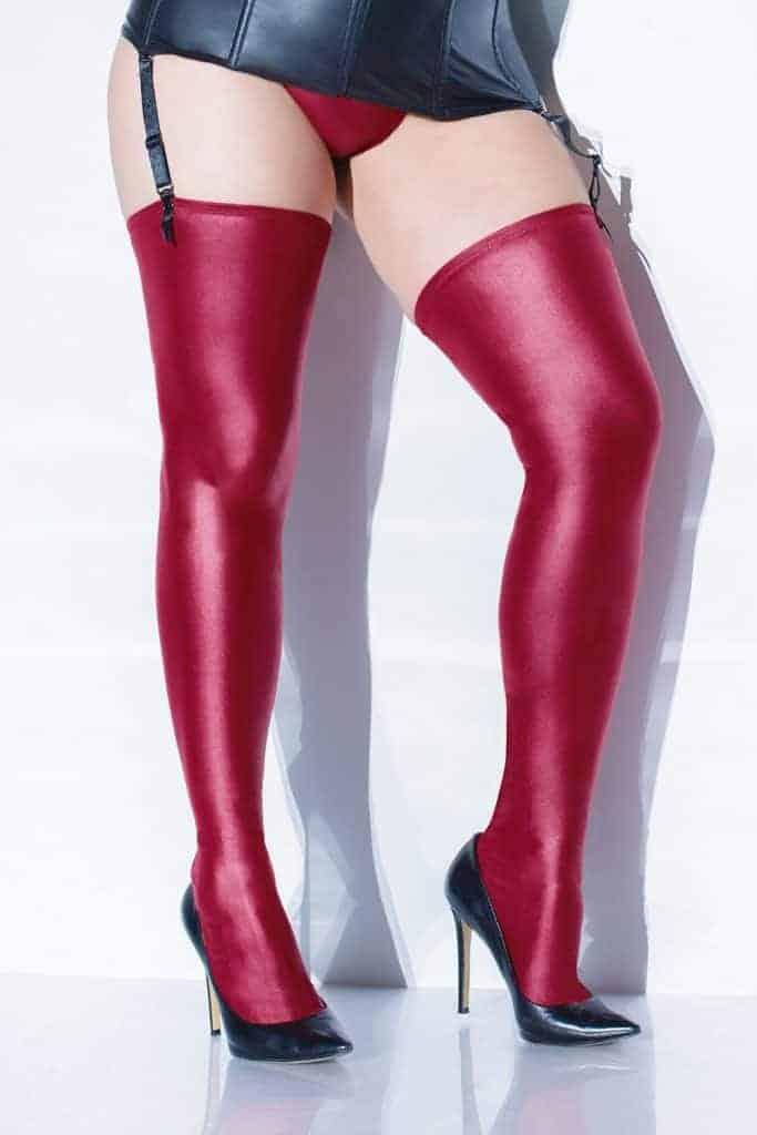 Coquette Metallic Wet Look Merlot Stockings front 2