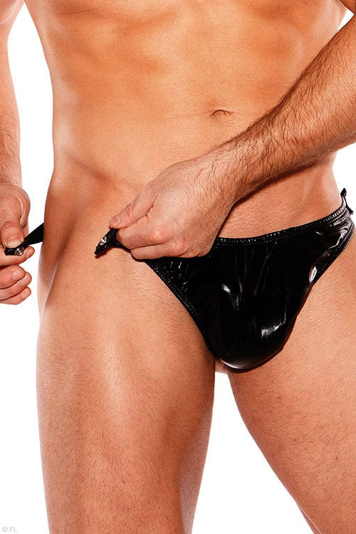Zeus Wet Look Tear Away Thong front