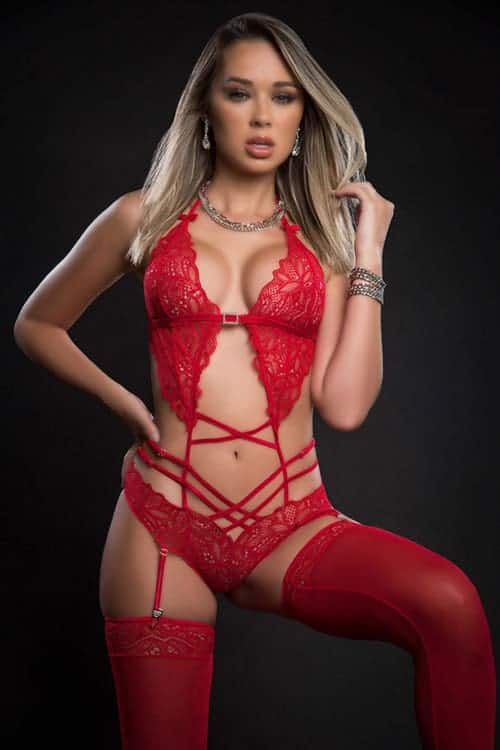 GWorld Scalloped Lacy Teddy with Garter and Stockings front
